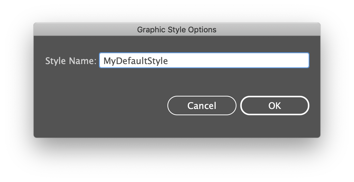 Pop up window for graphic style