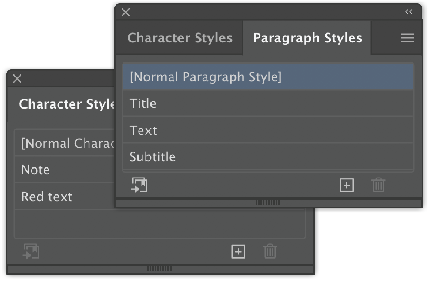 Character andParagraph styles saved as template