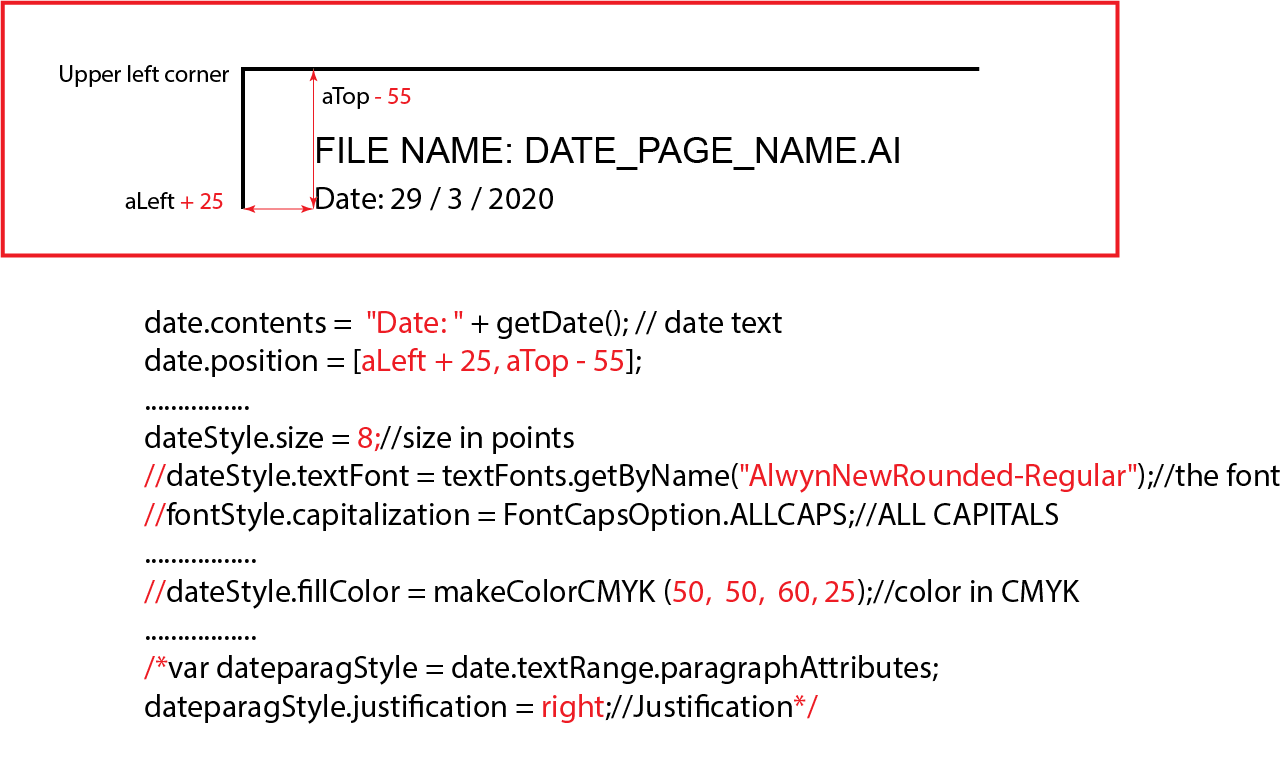 """date.contents = """"Date: """" + getDate(); // date text date.position = [aLeft + 25, aTop - 55]; ................ dateStyle.size = 8;//size in points //dateStyle.textFont = textFonts.getByName(""""AlwynNewRounded-Regular"""");//the font //fontStyle.capitalization = FontCapsOption.ALLCAPS;//ALL CAPITALS ................. //dateStyle.fillColor = makeColorCMYK (50, 50, 60, 25);//color in CMYK ................. /*var dateparagStyle = date.textRange.paragraphAttributes; dateparagStyle.justification = right;//Justification*/"""