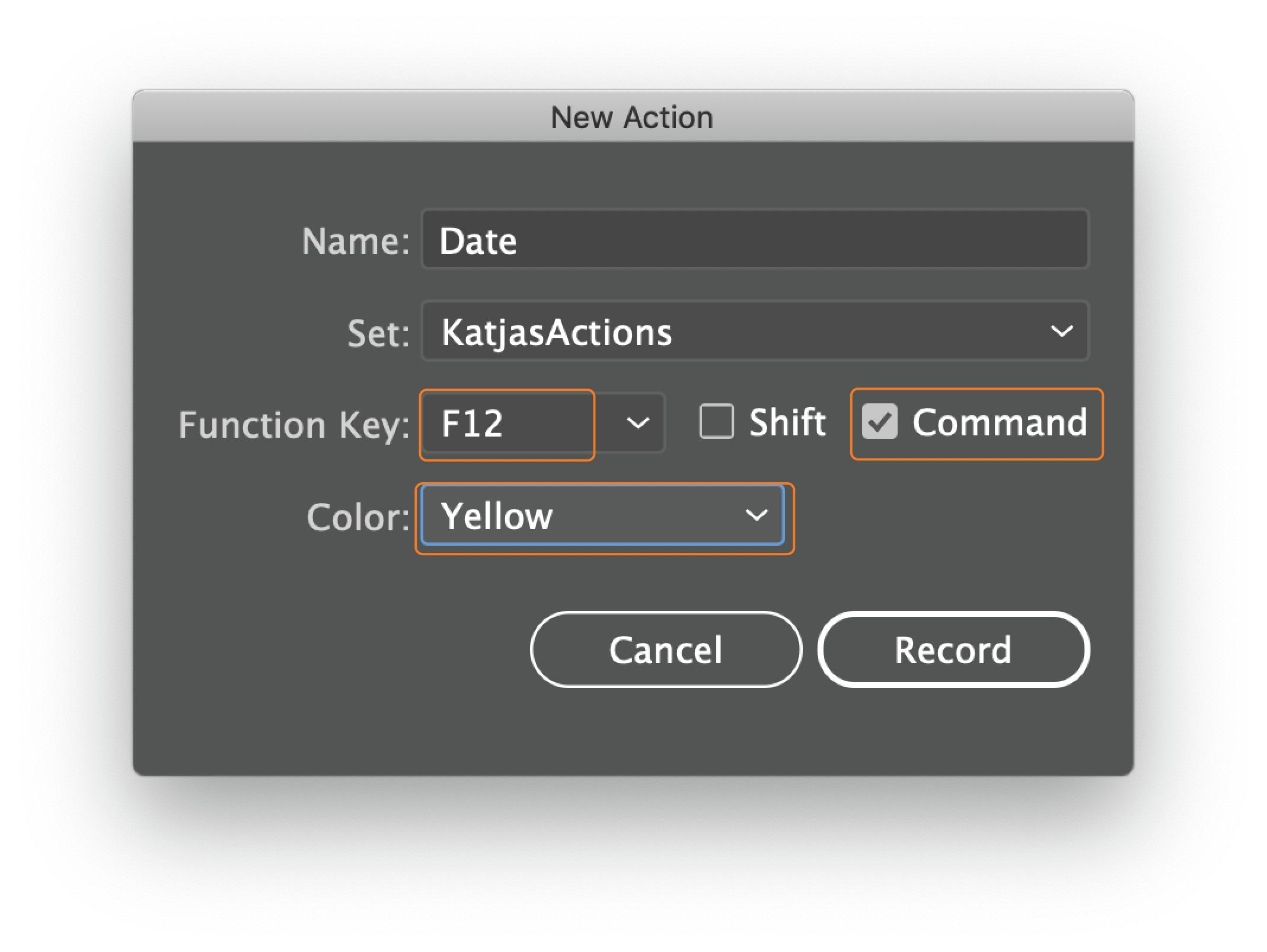 Date action dialog window