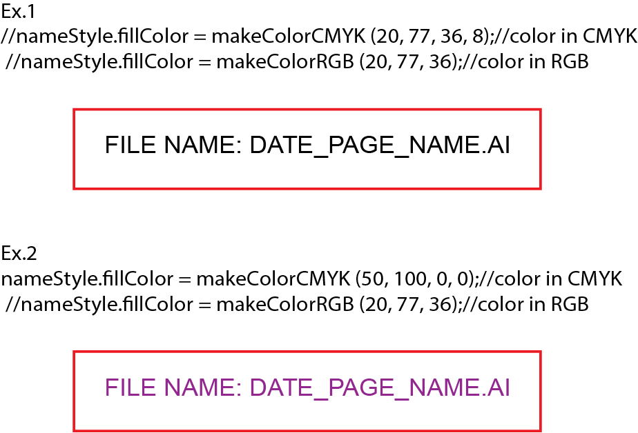 Dile name script color examples