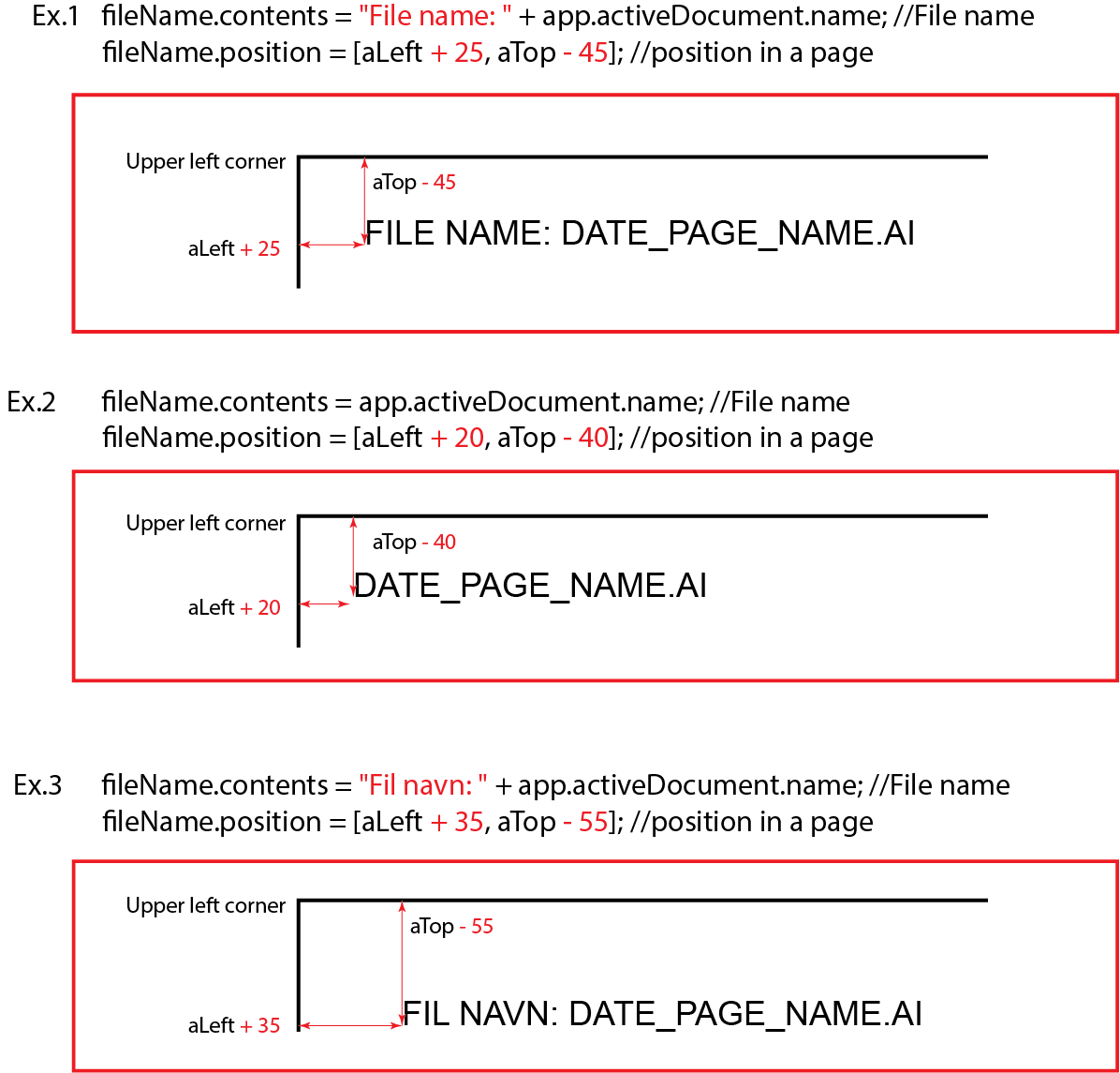 Examples of placing file name on the artboard