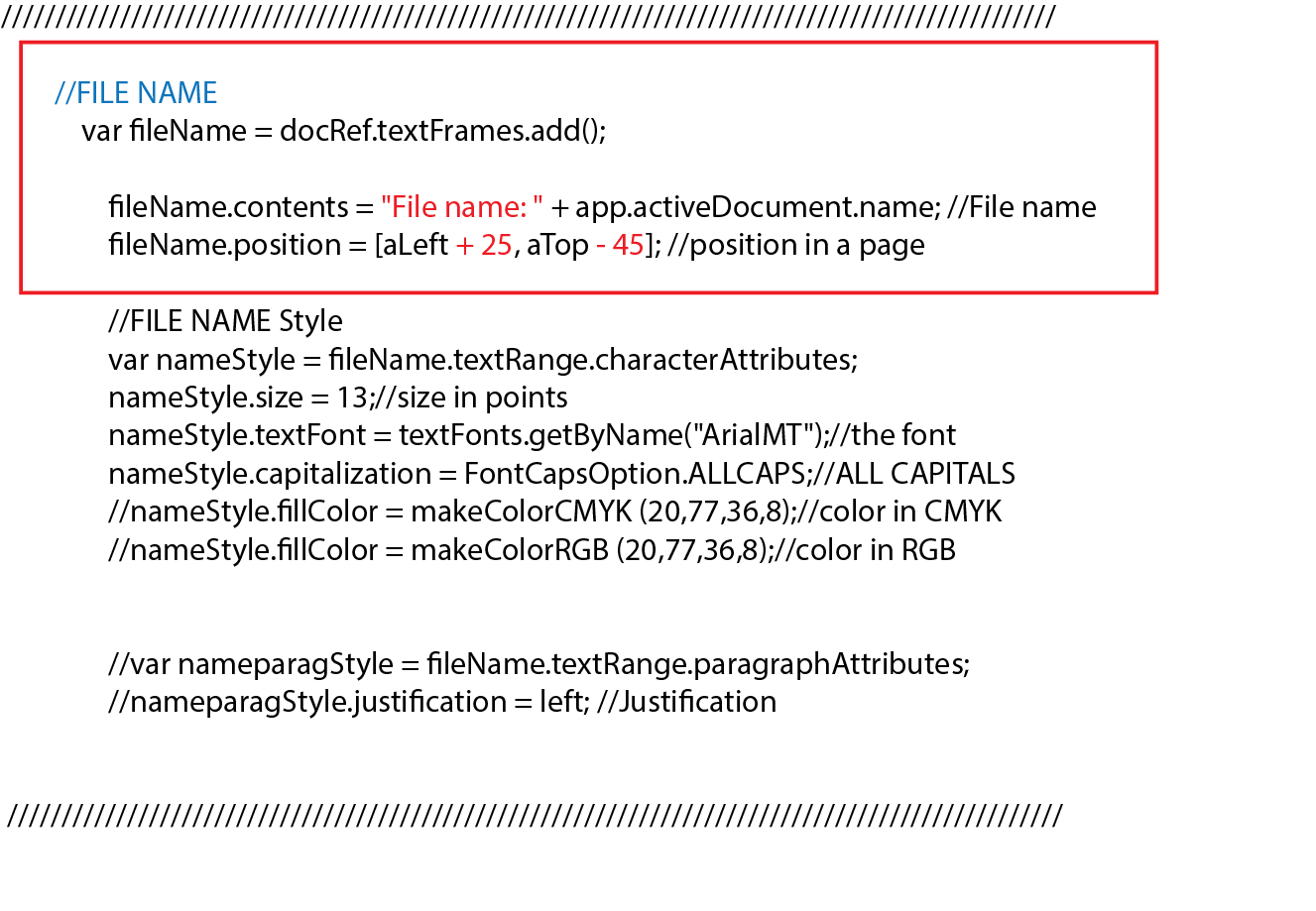 Script text for file name