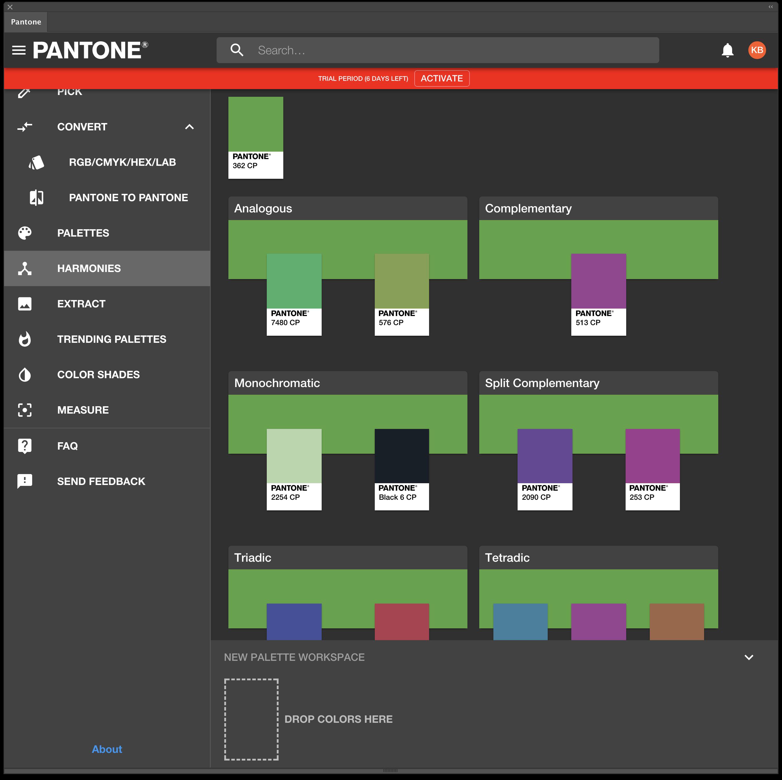 Pantone Connect Harmonies