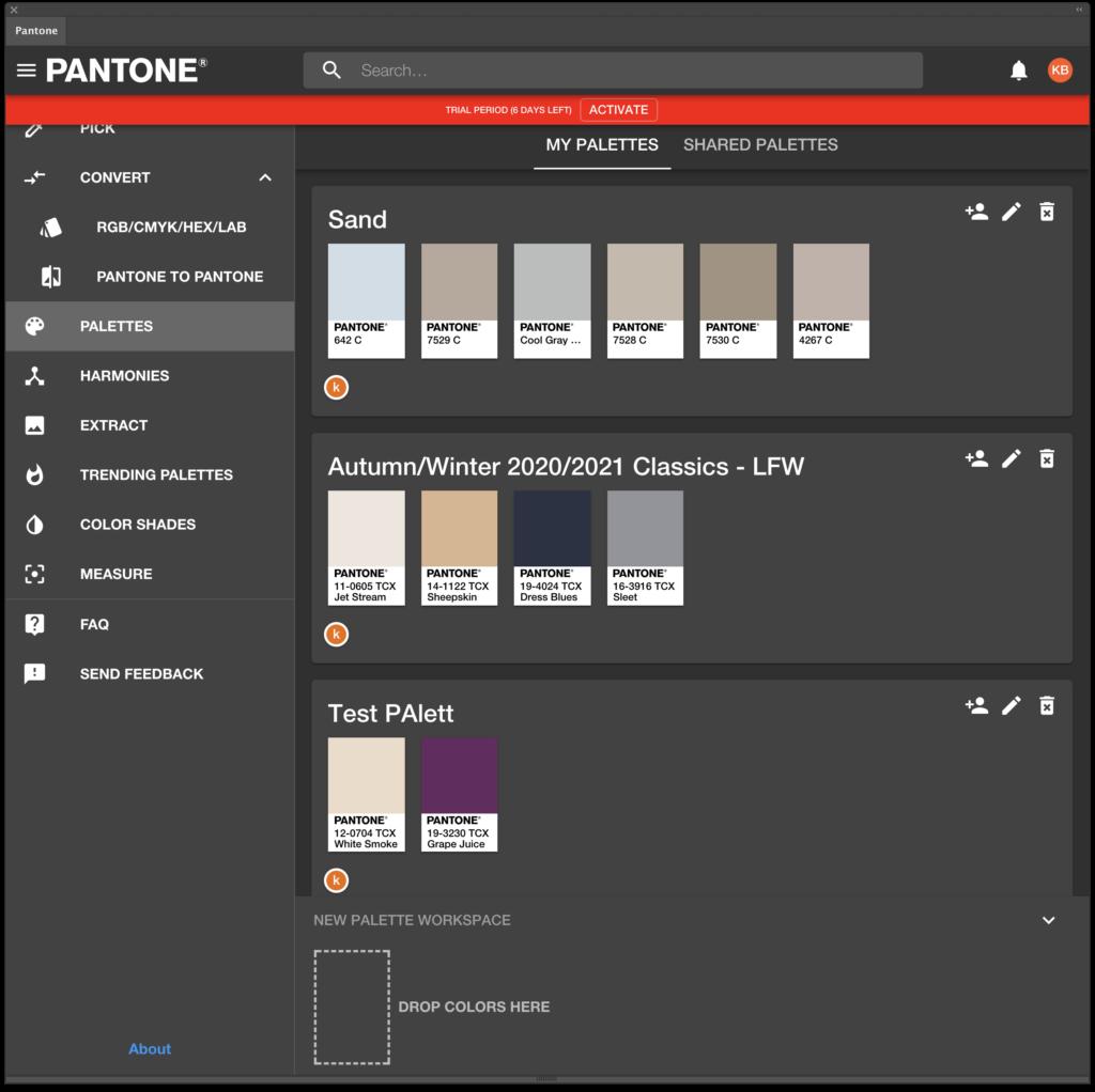 Pantone Connect Palettes