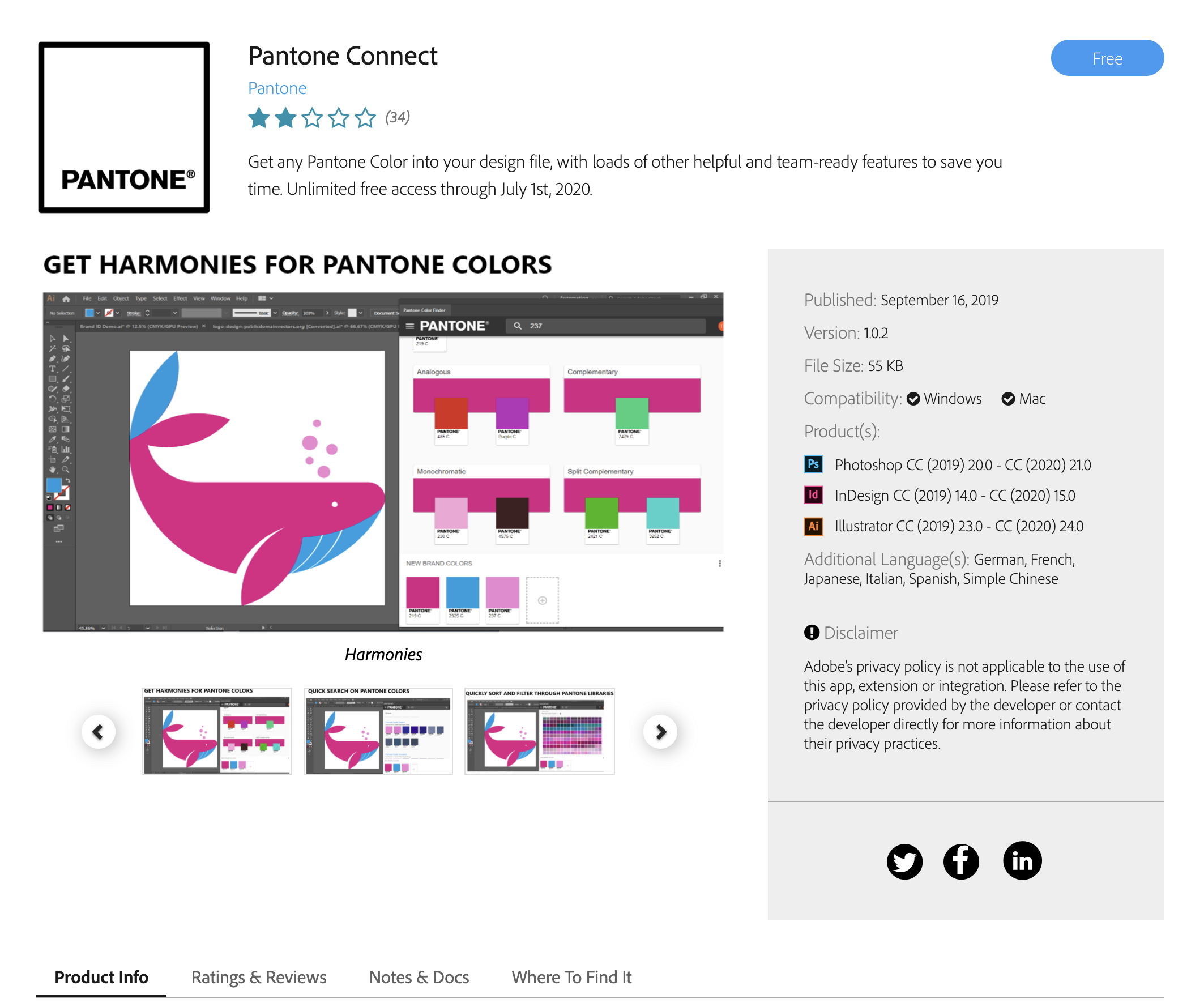 Pantone Connect on Exchange Adobe
