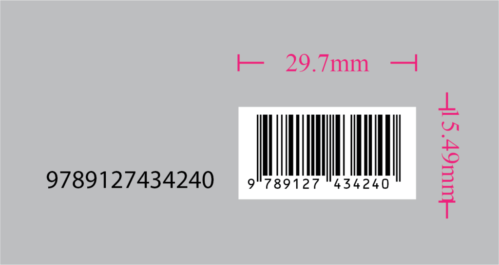 The size of script generated EAN13 barcode