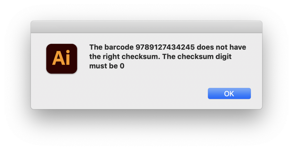 Alert EAN 13 barcode script shows checksum digit